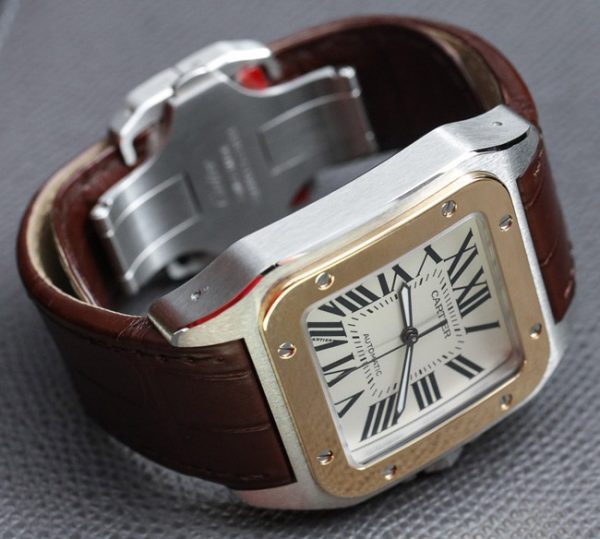 Cartier Santos 100 brown strap