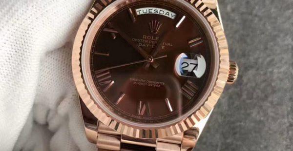 Rolex Daydate rose gold brown face