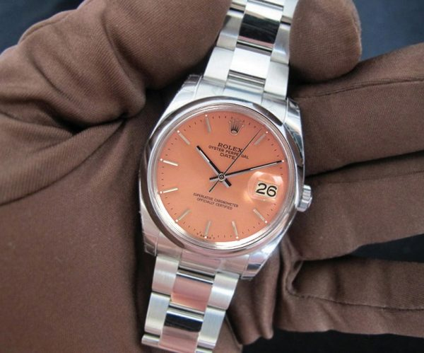 Rolex datejust salmon pink face