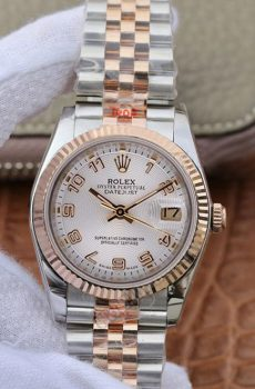 Rolex datejust jubilee two tone rose gold arabic numbers